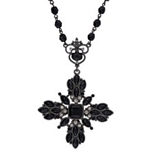 "2028 Black-Tone Black and Black Diamond Color Beaded Floral Pendant Necklace 16"" Adjustable"