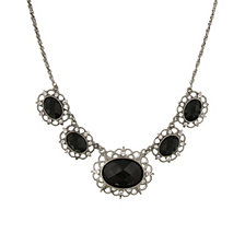 "2028 Silver-Tone Black Stone and Crystal 5-Oval Collar Necklace 16"" Adjustable"