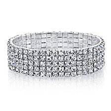 2028 Silver Tone 5-Row Crystal Bracelet