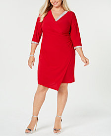MSK Plus Size Embellished Faux-Wrap Dress