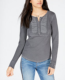 Lucky Brand Cotton Embroidered Henley Top