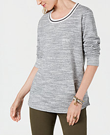 Style & Co Striped-Trim Sweatshirt, Created for Macy's