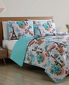 Eiffel Reversible 3-Pc. Full/Queen Quilt Set