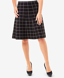 NY Collection Jacquard Plaid Skirt