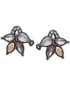 Jenny Packham Hematite-Tone Crystal Cluster Stud Earrings