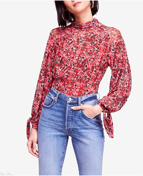 514d2178e8cc7d Free People All Dolled Up Printed Blouse   Reviews - Tops - Women ...