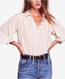 Free People Rush Hour Point-Collar Peasant T-Shirt