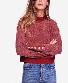 Free People Look Ahead Button-Cuff Sweatshirt