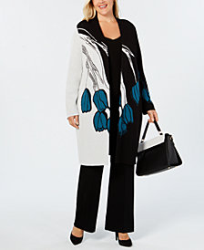 Alfani Plus Size Printed Colorblocked Cardigan, Created for Macy's