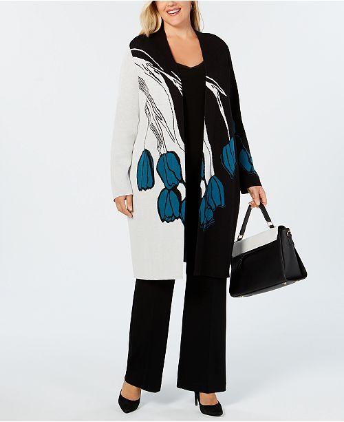 307ba095443 Alfani Plus Size Colorblock Floral Open-Front Cardigan