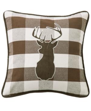 18x18 Embroidered Deer on Buffalo Linen Pillow