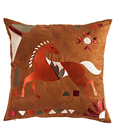 """Embroidered Horse 18""""x18"""" Pillow"""