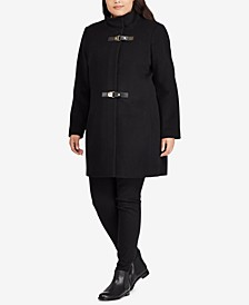 Plus Size Mockneck Buckle-Front Coat, Created For Macy's