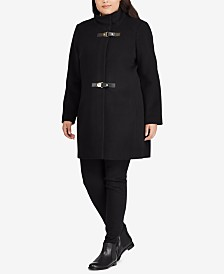 Lauren Ralph Lauren Plus Size Mockneck Buckle-Front Coat, Created For Macy's