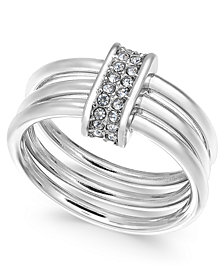 Alfani Silver-Tone Pavé Link Triple-Row Ring, Created for Macy's