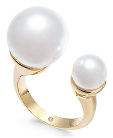 Alfani Gold-Tone Imitation Pearl Cuff Ring, Created for Macy's