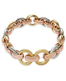 Tri-Tone Hoop Link Stretch Bracelet, Created for Macy's