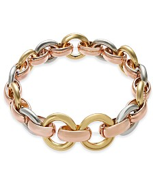 Alfani Tri-Tone Hoop Link Stretch Bracelet, Created for Macy's