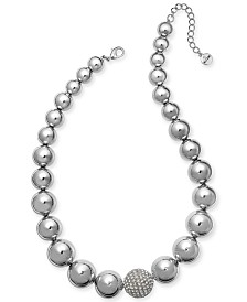 "Alfani Silver-Tone Crystal Accent Bubble Statement Necklace, 17"" + 2"" extender, Created for Macy's"