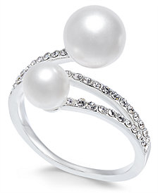Charter Club Silver-Tone Imitation Pearl & Pavé Statement Ring, Created for Macy's