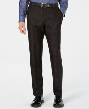 Bar Iii Men's Slim-Fit Black Jacquard Suit Pants, Created for Macy's