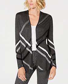 Charter Club Diagonal-Plaid Open Cardigan, Created for Macy's
