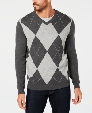 Men's Vintage Sweaters – 1920s to 1960s Retro Jumpers Club Room Mens Argyle Pima Cotton Sweater Created for Macys $29.99 AT vintagedancer.com