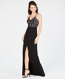 B Darlin Juniors' Rhinestone Slit Gown