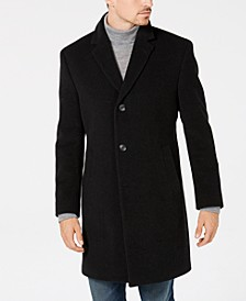 Men's Classic/Regular Fit Wool/Cashmere Blend Solid Overcoat