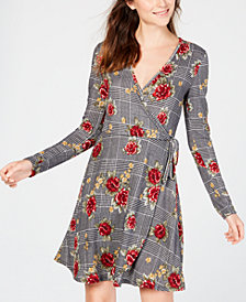 No Comment Juniors' Floral-Print Faux-Wrap Dress