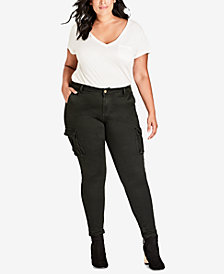 City Chic Trendy Plus Size Skinny Cargo Pants
