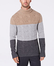 Tasso Elba Men's Lux Colorblocked Turtleneck Sweater, Created for Macy's