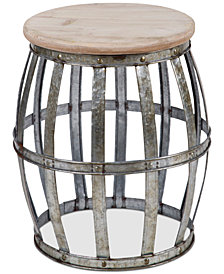 Home Essentials Galvanized Barrel Table