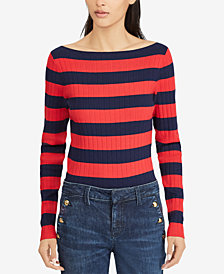 Lauren Ralph Lauren Striped Boat Neck Sweater
