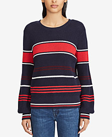 Lauren Ralph Lauren Bishop-Sleeve Cotton Sweater