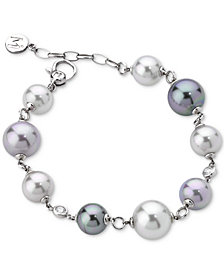 Majorica Sterling Silver Imitation Pearl Link Bracelet