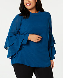 Alfani Plus Size Burnout Mock-Neck Ruffle-Sleeve Top, Created for Macy's