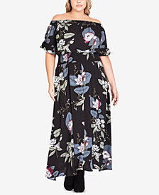 City Chic Trendy Plus-Size Off-The-Shoulder Maxi Dress