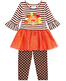 Blueberi Boulevard Baby Girls 2-Pc. Turkey Dress & Leggings Set