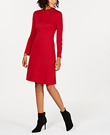 Nine West Button-Sleeve Sweater Dress