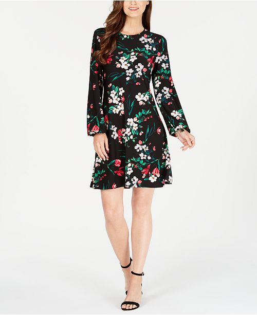 7f8d5ce51a5 Nine West Floral Printed Long-Sleeve Shift Dress - Dresses - Women ...
