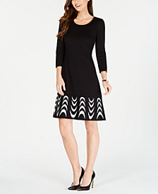 Nine West Printed-Hem Sweater Dress