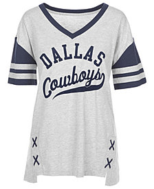 Authentic NFL Apparel Women's Dallas Cowboys Opal Lace Up T-Shirt