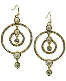 GUESS Gold-Tone Crystal & Imitation Pearl Orbital Drop Earrings