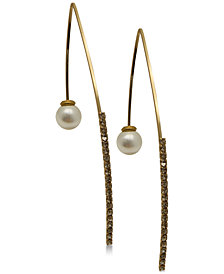 GUESS Gold-Tone Crystal & Imitation Pearl Threader Earrings