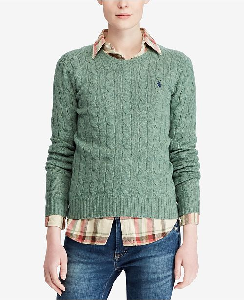 940d43dcb6f7f Polo Ralph Lauren Cable Crew-Neck Wool Cashmere Blend Sweater ...