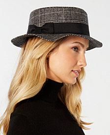 Nine West Glen Plaid Boater Hat
