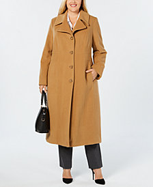 Anne Klein Plus Size Notch-Collar Coat