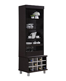 Tall Standing Hutch with 5-Shelves, 1-Drawer plus 12-Bottle Wine Holder
