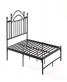 Complete Platform Queen-Size Bed with Headboard, Slats and Rails